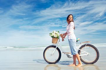 Beach bike woman