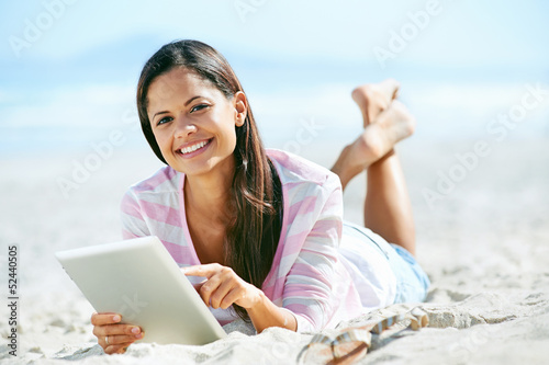 tablet beach woman