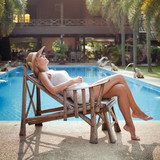 lazy day, idleness, woman sleeping near the swimming pool