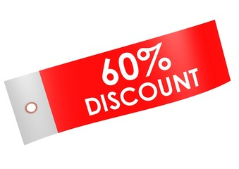 Discount 60 percent label