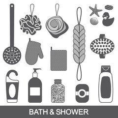 Bath and shower products vector silhouettes set