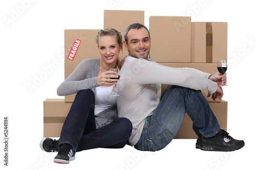 couple celebrating their new apartment