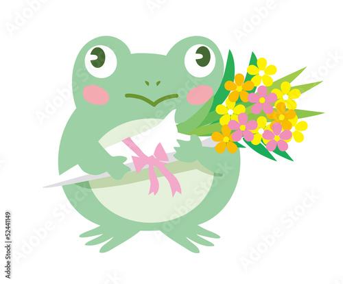 カエルと花束