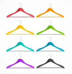 Coat hanger wood set isolated on white. Rainbow.