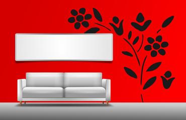 Sofa vor roter Wand mit Bild und Wandtattoo