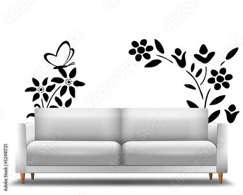 Sofa mit Wandtattoo Natur - 52441721