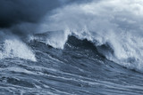 Detailed Atlantic stormy big wave; toned blue, enhanced sky poster