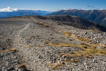 winding track across scree slopes in Nelson Lakes