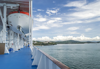 Safety ship with beautiful landscape