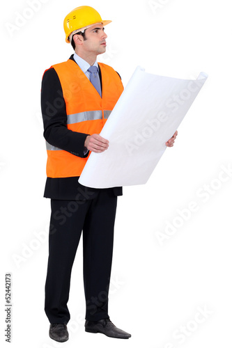 Engineer verifying a drawing
