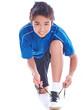 junge vorbereitet sich für sport
