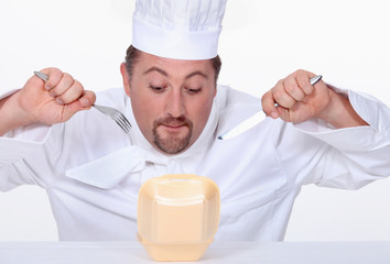 Chef eating junk food