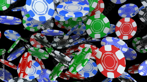 Poker chips falling on white background.