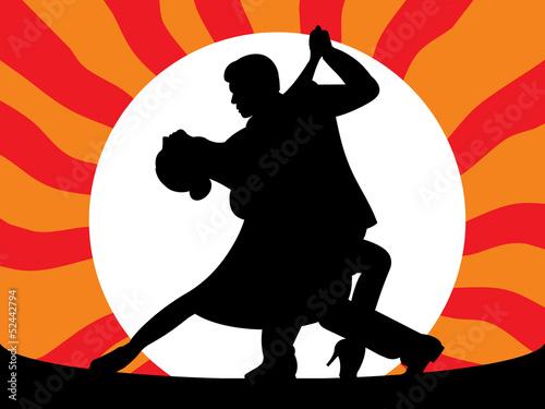 Ilustração - Casal a dançar o tango ao escurecer