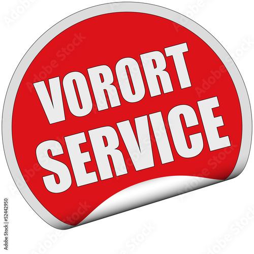 Sticker rot rund cu VORORT SERVICE