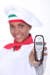 pizzaiola showing a phone