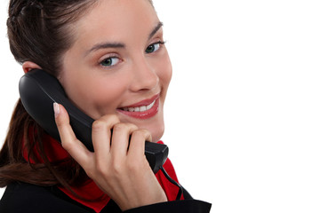 Businesswoman making telephone call