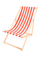 Studio shot of a sun lounger with orange stripes