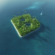 Island Alphabet. Paradise tropical island in form of letter B