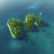 Island Alphabet. Paradise tropical island in form of letter M