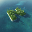 Island Alphabet. Paradise tropical island in form of letter N