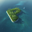Island Alphabet. Paradise tropical island in form of letter P