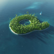 Island Alphabet. Paradise tropical island in form of letter Q
