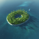 Fototapety Island Alphabet. Paradise tropical island in form of letter O