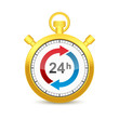 24 Hours Golden Stopwatch Icon