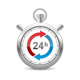 24 Hours Silver Stopwatch Icon