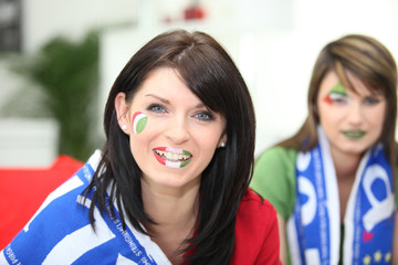 Two female Italian soccer supporters