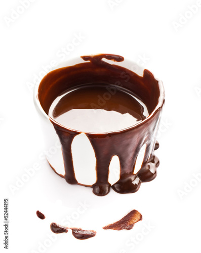 Cup of hot chocolate cocoa flow isolated on white background, cl