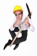 Entrepreneur with pickaxe