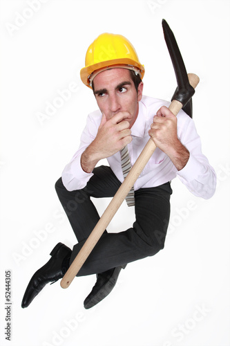 Entrepreneur with pickaxe