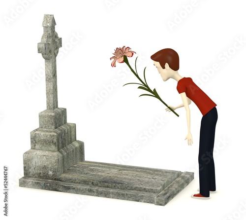 3d render of cartoon character with grave