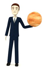 3d render of cartoon character with jupiter