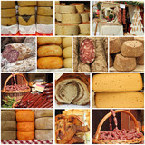 cheese and meat on farmers market - collage