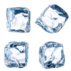 Cubes of ice on a white background. File contains the path to cu