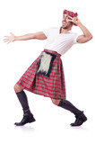 Scottish man dancing on white