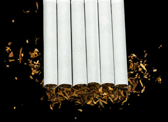 Arranged in a row cigarettes