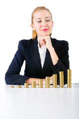 Woman with coins isolated on white