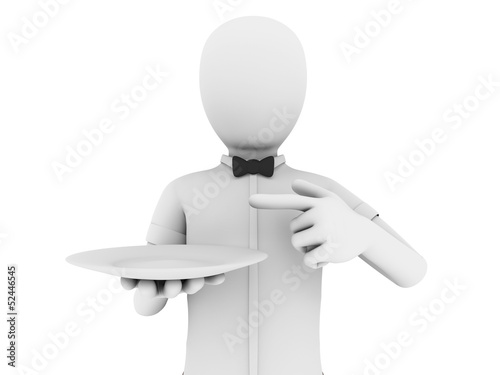 waiter with and empty plate