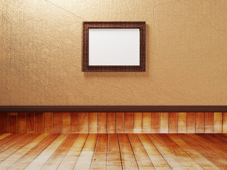 empty room with a wooden floor and a picture