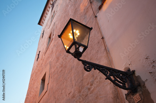 old gas lamp on the wall in Zagreb. Croatia.