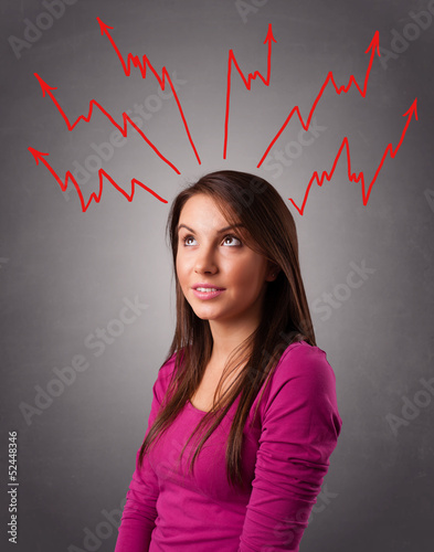 Young woman thinking with arrows overhead