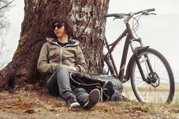 Cyclist enjoys nature