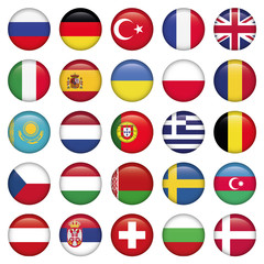 European Icons Round Flags