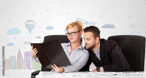 Businessman and businesswoman with colorful city sky-scape backg