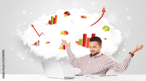 Handsome businessman with cloud in the background containing col