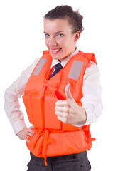 Young woman with life vest on white